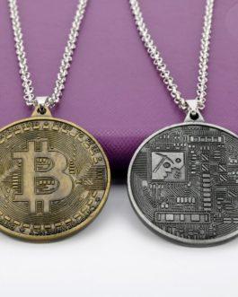 Collier pendentif en pièces bitcoin – hommes / femmes