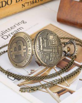 Montre de poche à Quartz en Bronze Antique Bitcoin