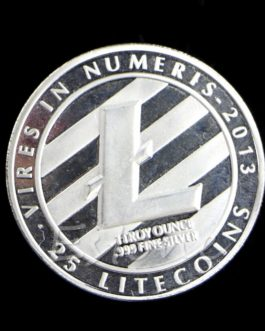 Pièce de collection Litecoin (LTC) 1 OZ pur. 999 argent plaqué 25