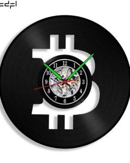 Horloge murale vinyle en forme de crypto au choix