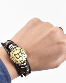 Bracelet en laiton fait à la main avec le logo Bitcoin