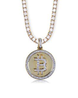 Pendentif Bitcoin couleur or plaqué glacé brillant