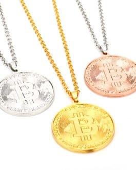Collier en forme de pièce de monnaie Bitcoin