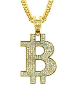 Collier Hip Hop Bitcoin strass  glacé or argent