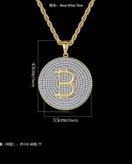 Collier crypto Bitcoin en zircon cubique glacé