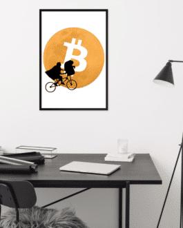 Affiche avec support encadrement – Bitcoin moon